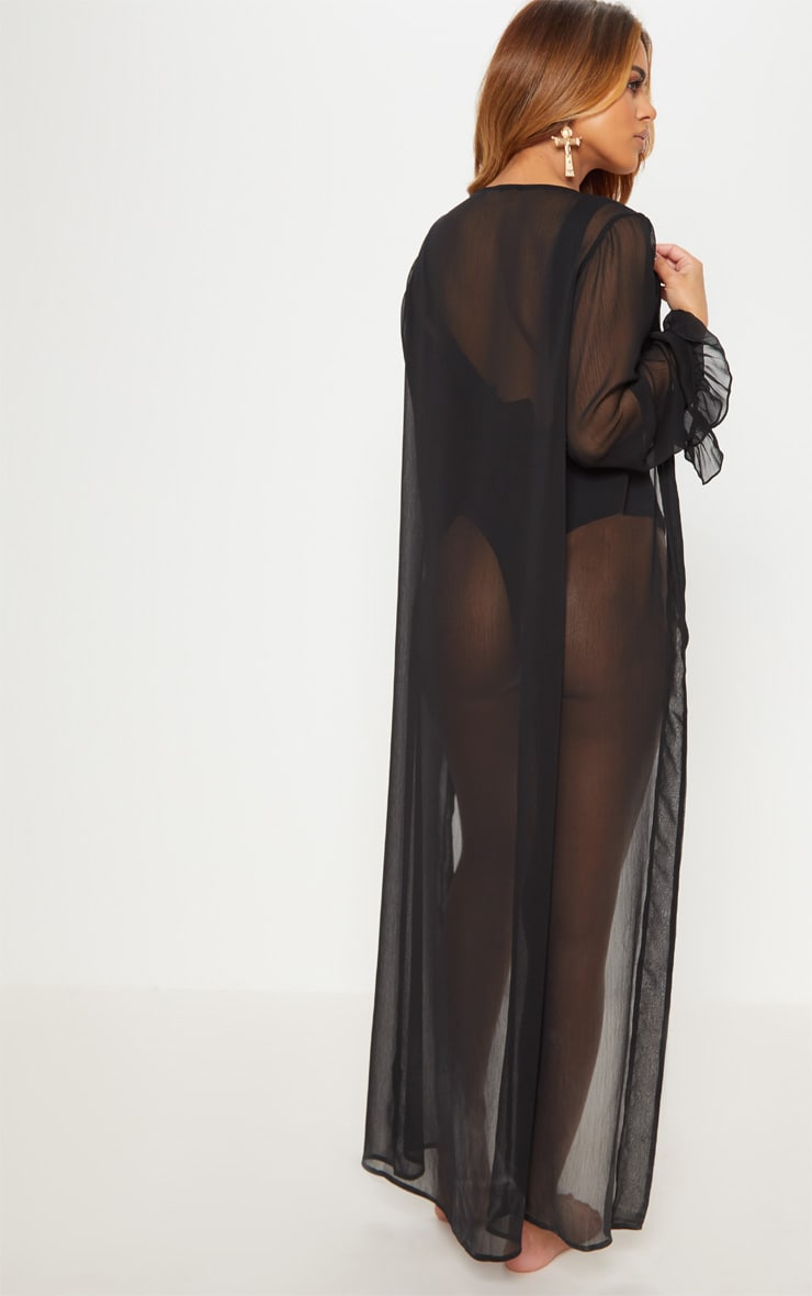 Petite Black Frill Sleeve Kimono 2