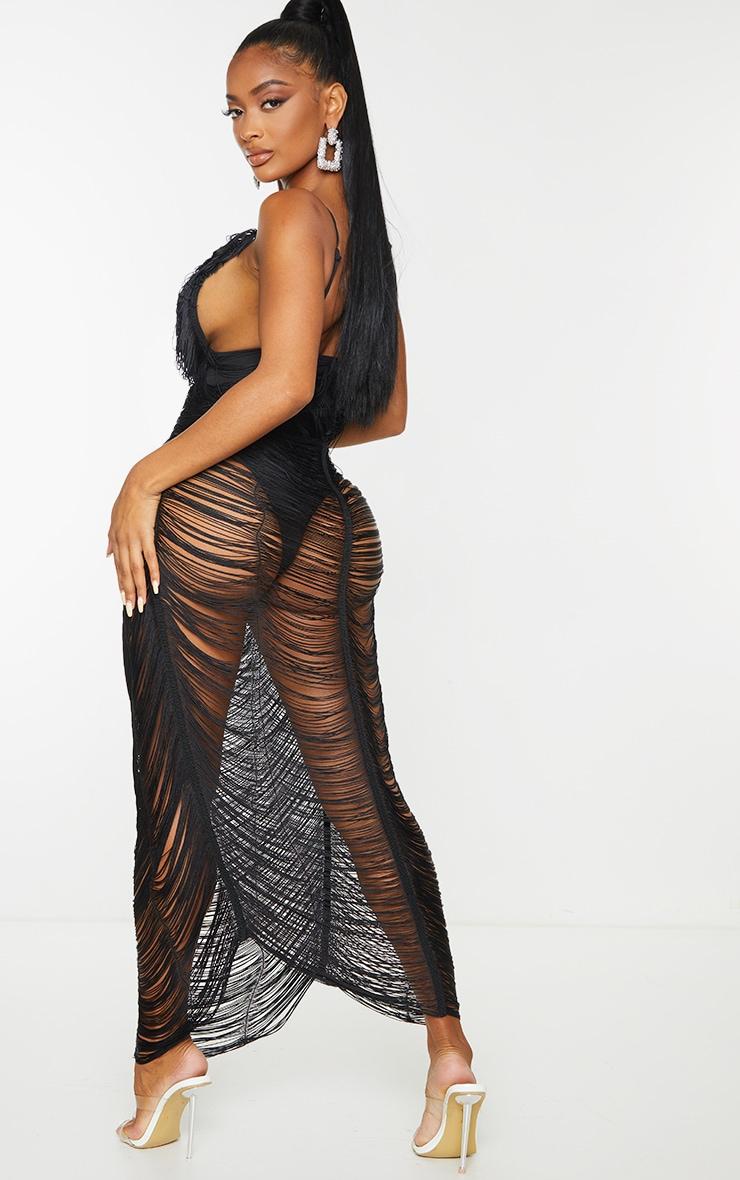 Shape Black Fringe Detail Midaxi Dress 2