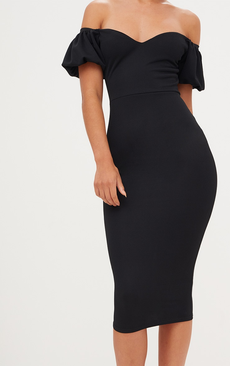 Black Balloon Sleeve Bardot Midi Dress 5