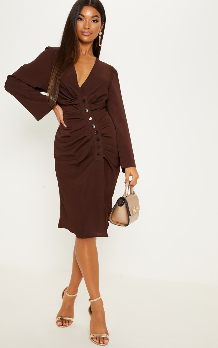 72c8f5f0ca5 Chocolate Ruched Button Front Midi Dress image 1