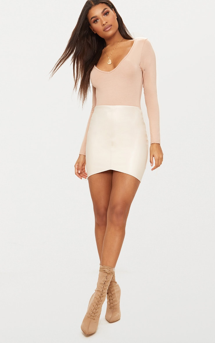 Stone Faux Leather Seam Mini Skirt 4