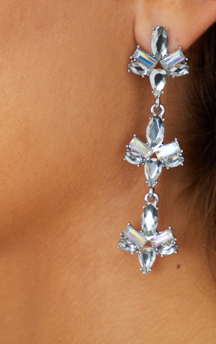Iridescent Silver Diamante Drop Earrings 3