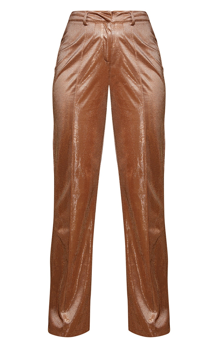 Plus Copper Metallic Wide Leg Pants 4