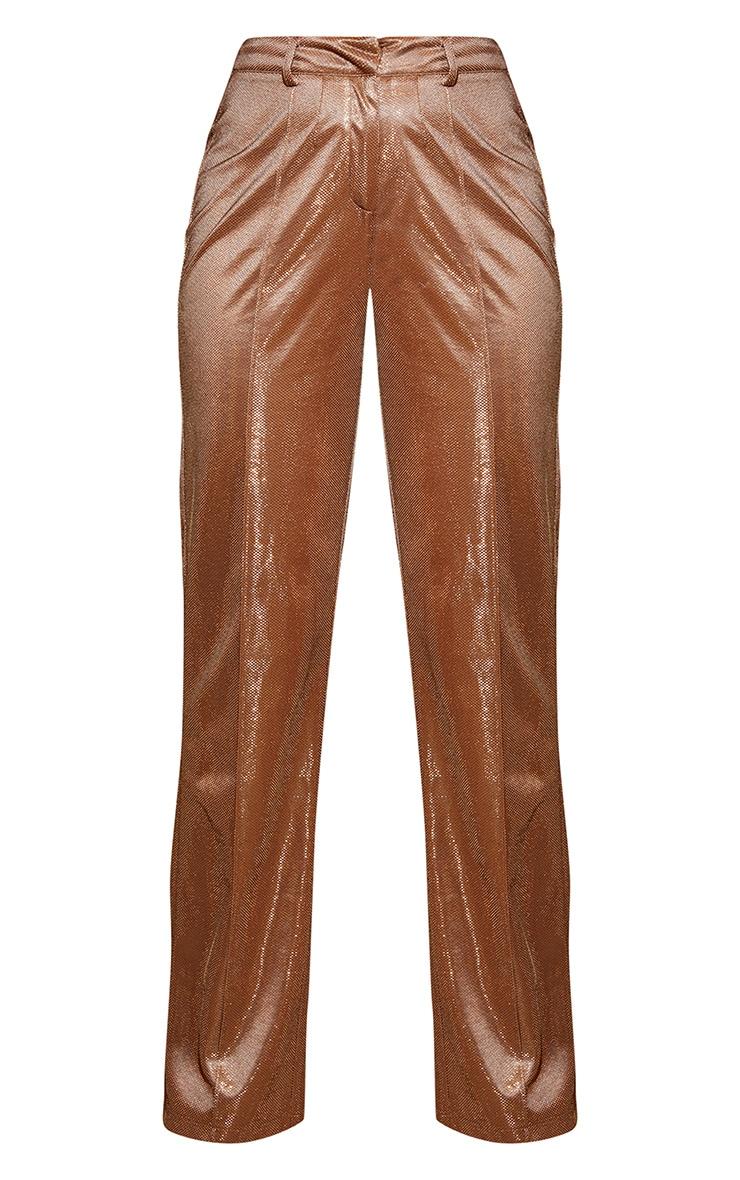 PLT Plus - Pantalon à jambes évasées cuivré métallisé 4