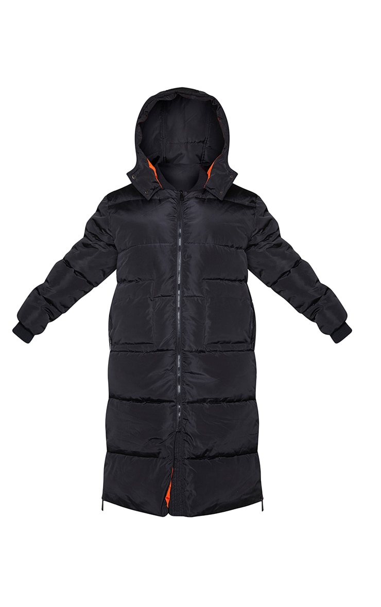 Plus Black Maxi Contrast Hooded Puffer Jacket 5