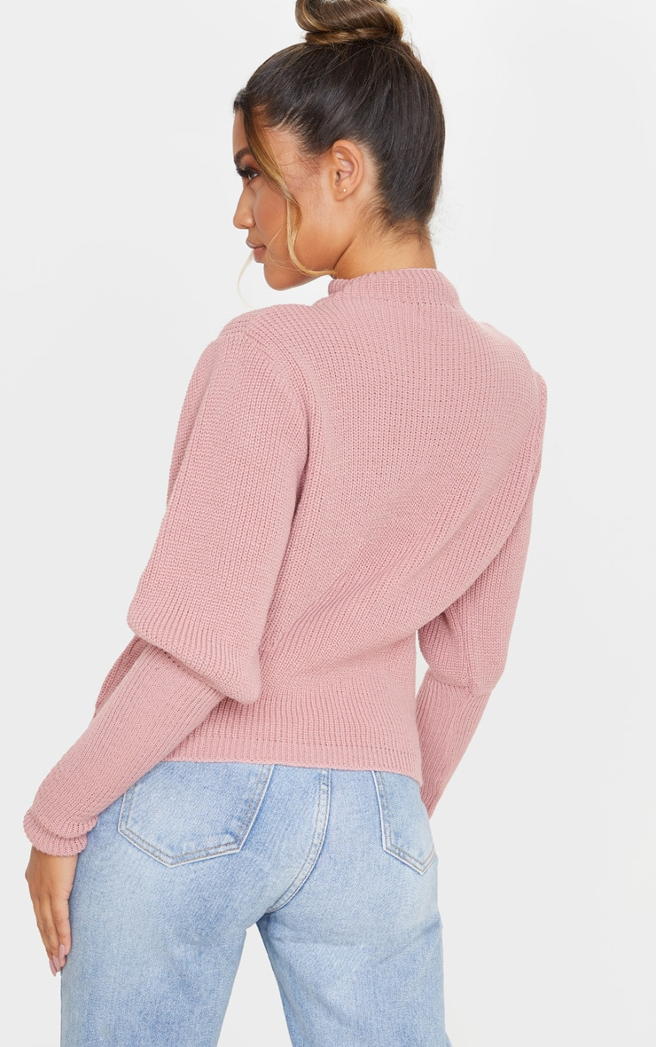 Dusty Pink Puff Sleeve Turtle Neck Jumper 2