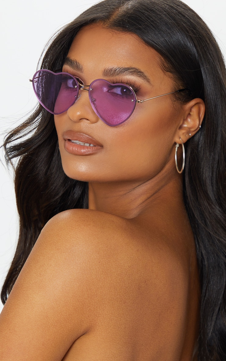 Purple Heart Shaped Sunglasses 1