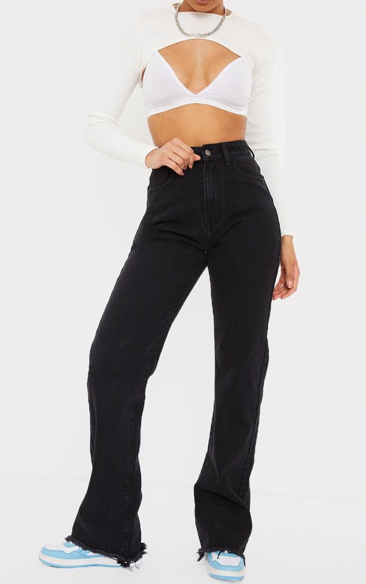 Washed Black Frayed Hem Wide Leg Jeans 2