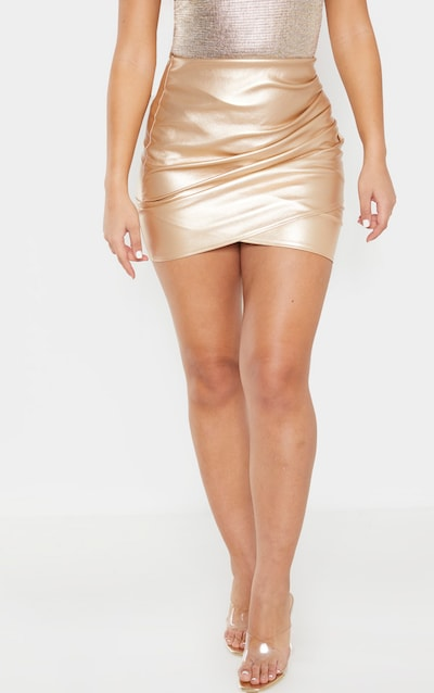 Gold Faux Leather Ruched Wrap Skirt