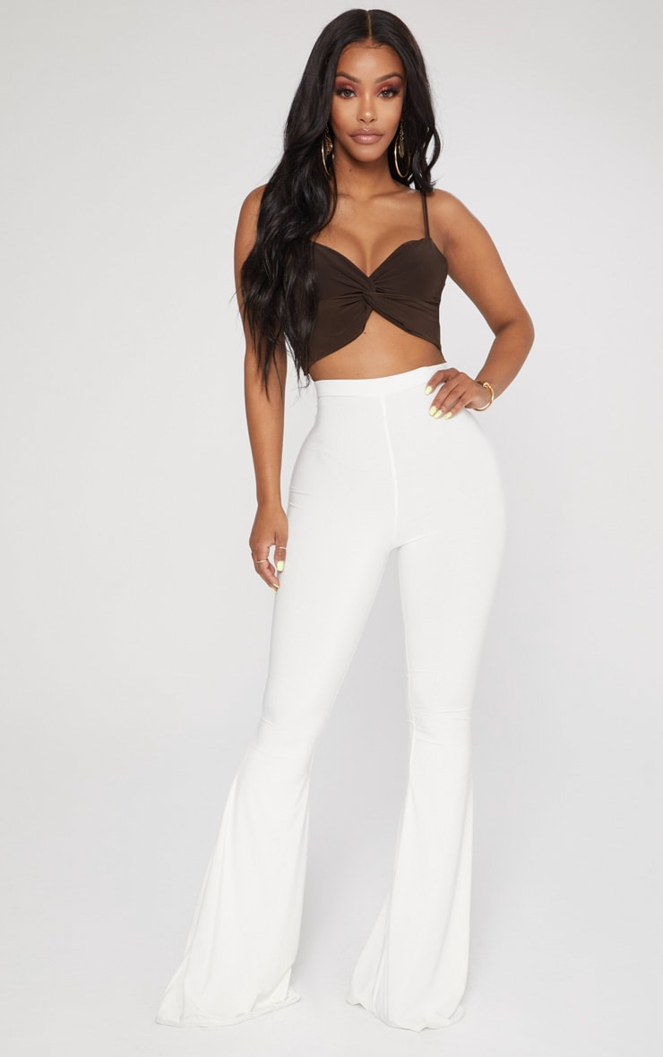Shape Chocolate Slinky Twist Detail Strappy Crop Top 4