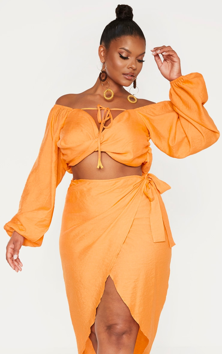 Plus Orange Woven Twist Front Tie Neck Bardot Crop Top 1