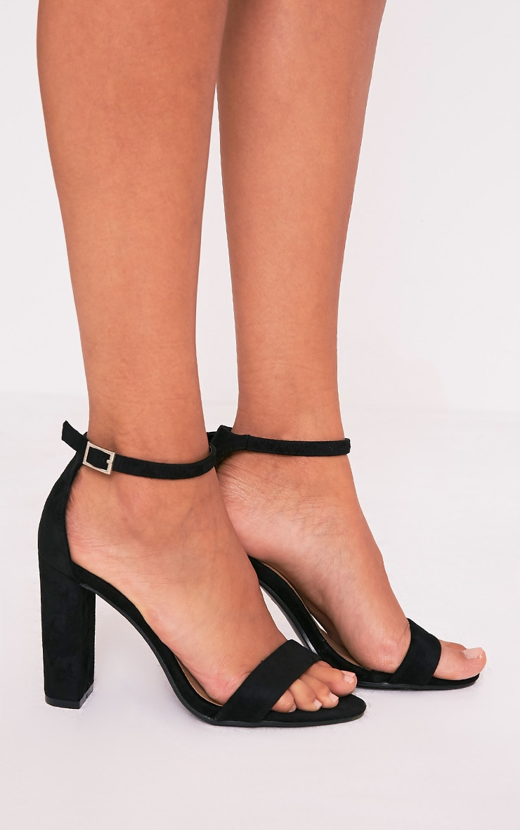 May Black Faux Suede Block Heeled Sandals 1
