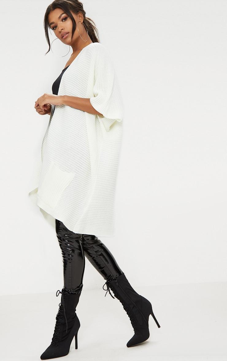 Cream Chunky Knit 3/4 Sleeve Wrap Cardigan 4