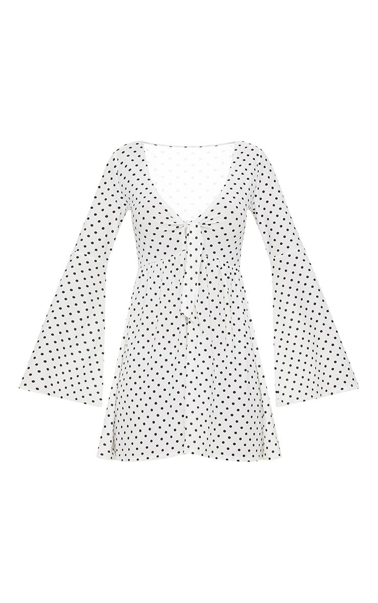 White Polka Dot Fluted Sleeve Tie Detail Tea Dress 3