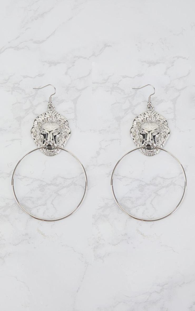 Silver Lion Drop Oversized Hoop Earrings 3