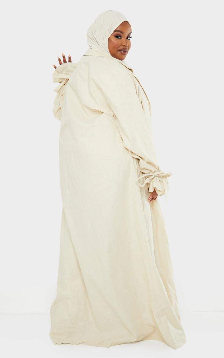 Plus Cream Woven Tie Cuff Duster Coat 2