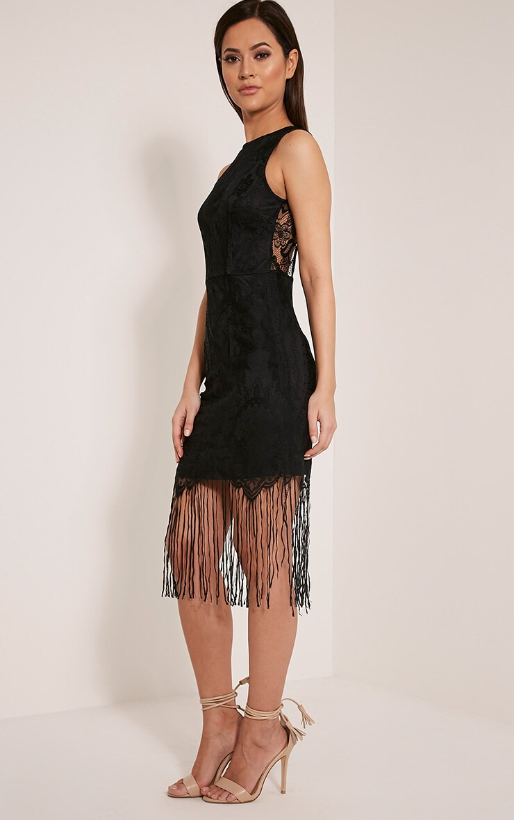 Aleesha Black Open Back Lace Tassel Bodycon Dress 4