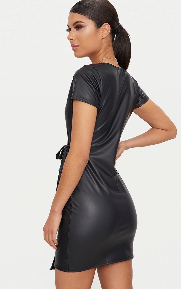 Black Short Sleeve Wrap Over PU Bodycon Dress 2