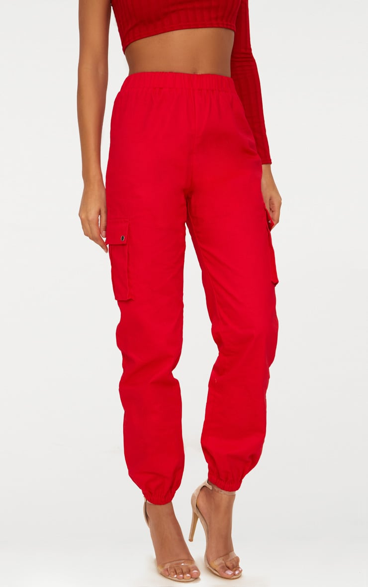 Red Pocket Detail Cargo Trousers 2