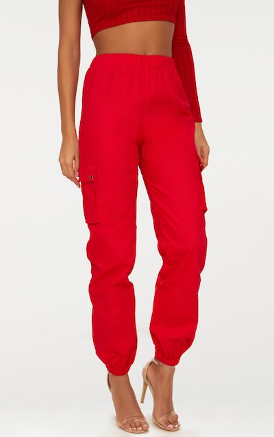 Red Pocket Detail Cargo Trousers