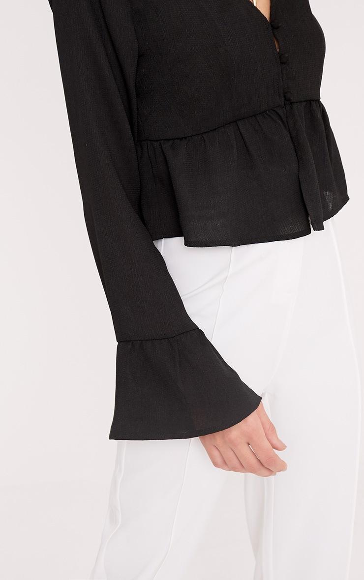 Lynn Black Woven Frill Button Crop Blouse 5