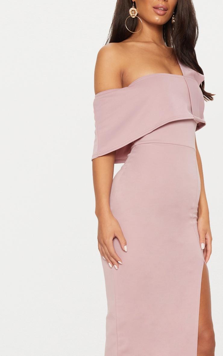 Dusty Pink Asymmetric Strap Split Detail Midi Dress 5