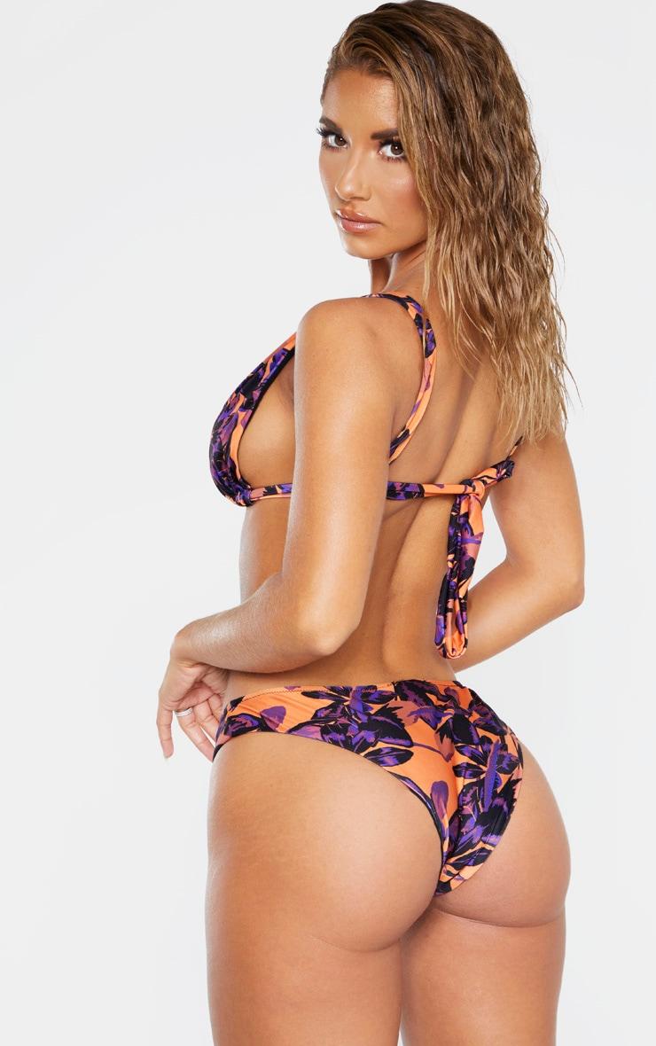Orange Shadow Leaf High Apex Triangle Bikini Top 2