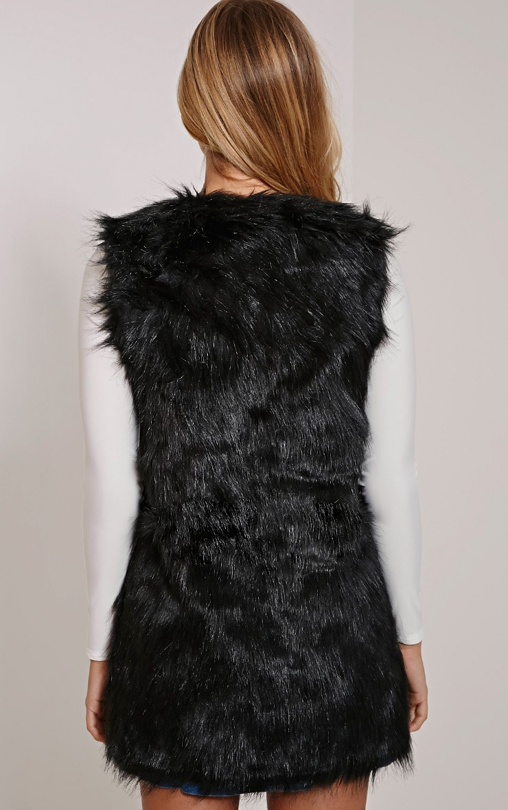 Cristina Black Faux Fur Gilet 2