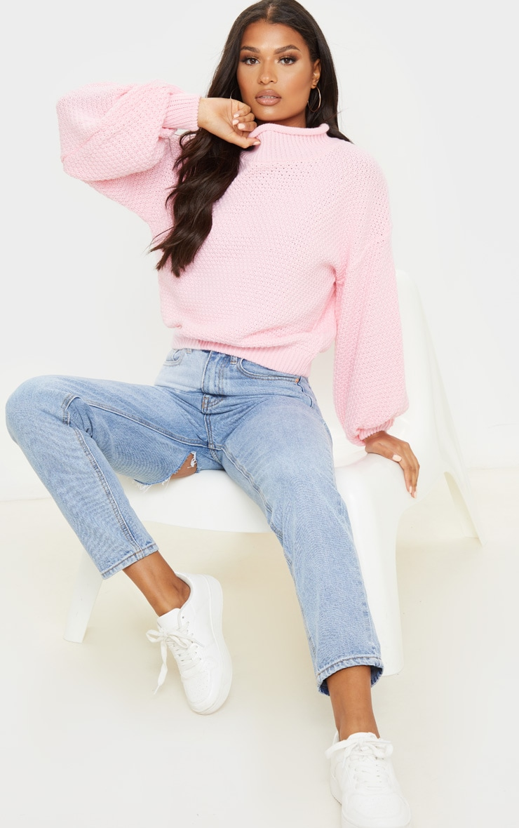 Baby Pink Textured Knit Roll Neck Sweater 4