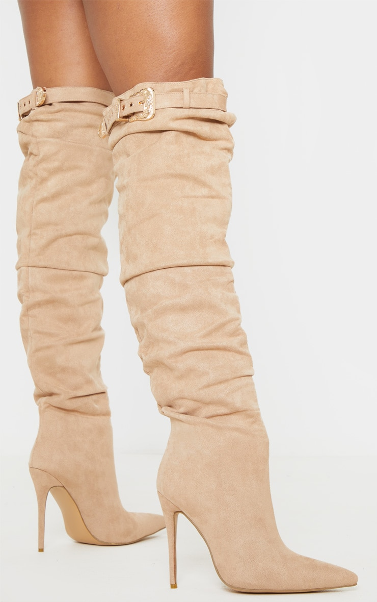 Nude Western Buckle Thigh High Slouch Boot 2