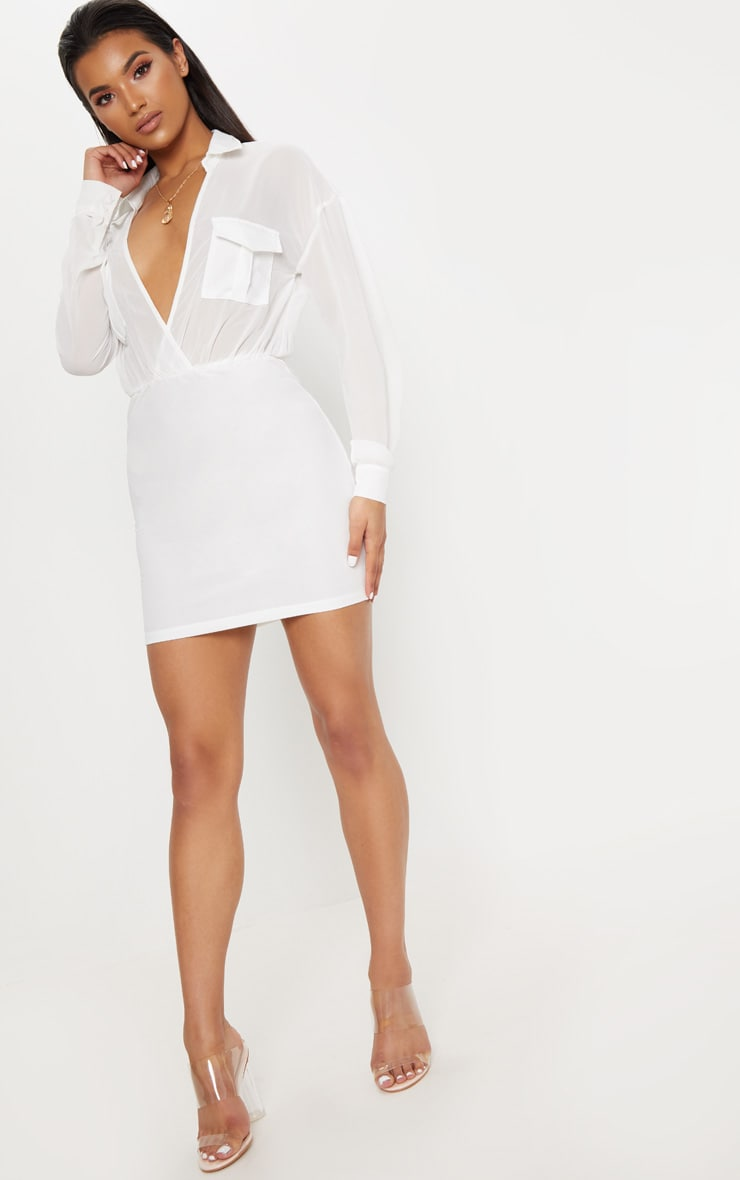 White Sheer Top Utility Bodycon Dress 4