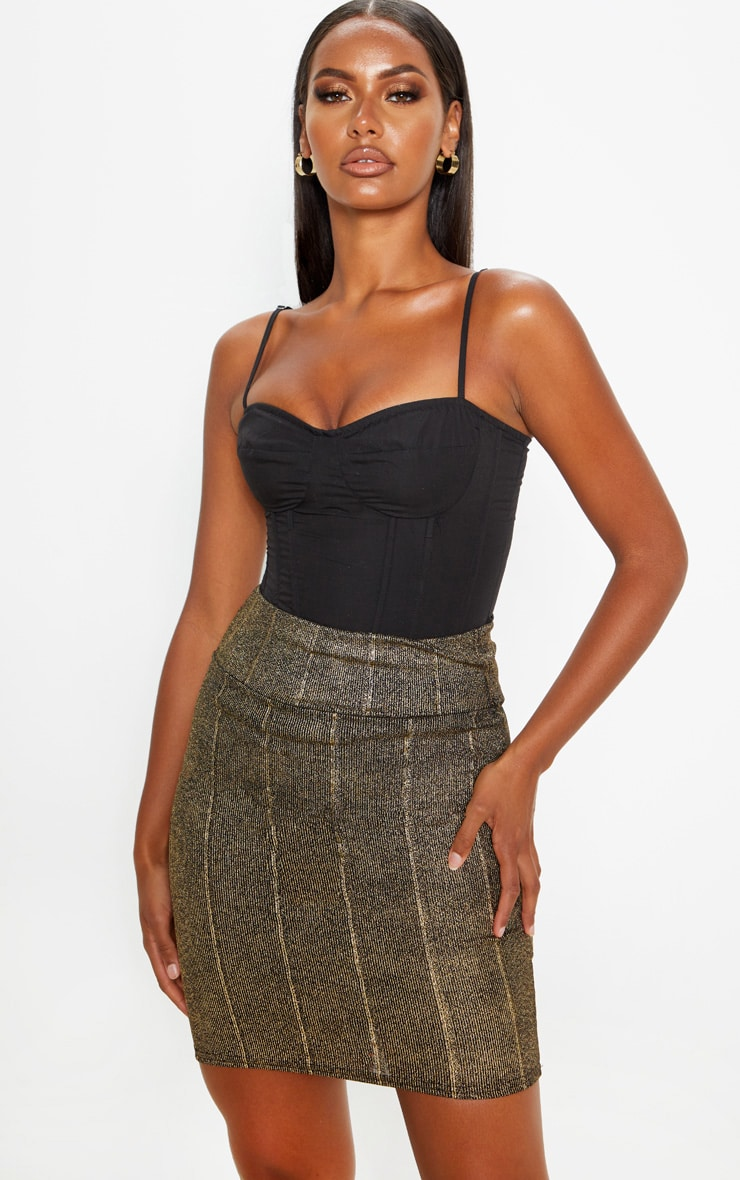 Black Metallic Rib Super High Waisted Mini Skirt 1