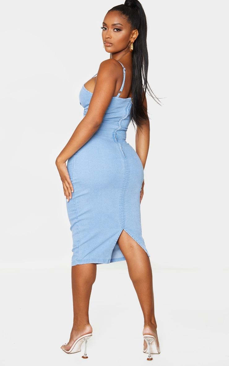 Shape Light Wash Denim Twist Front Midi Dress 2