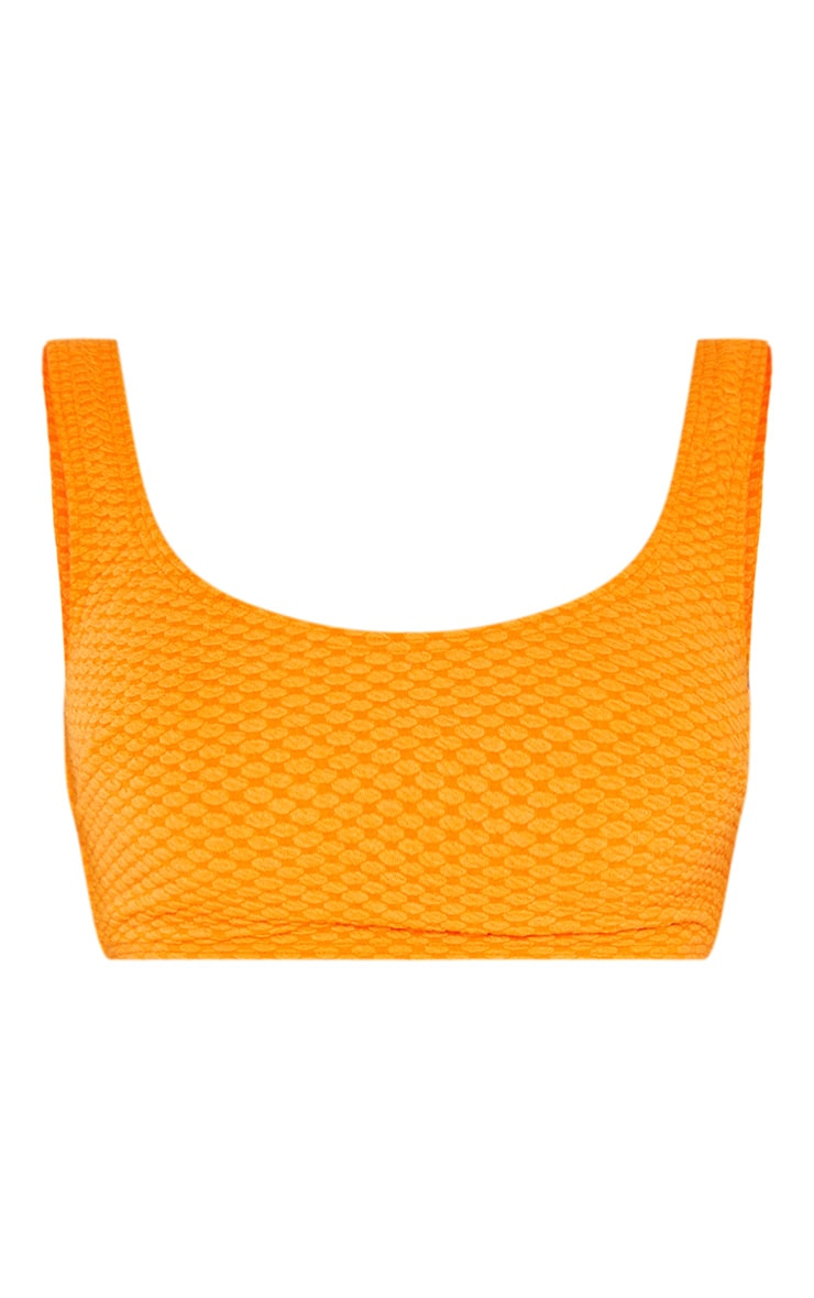 Orange Bubble Textured Scoop Neck Bikini Top 3