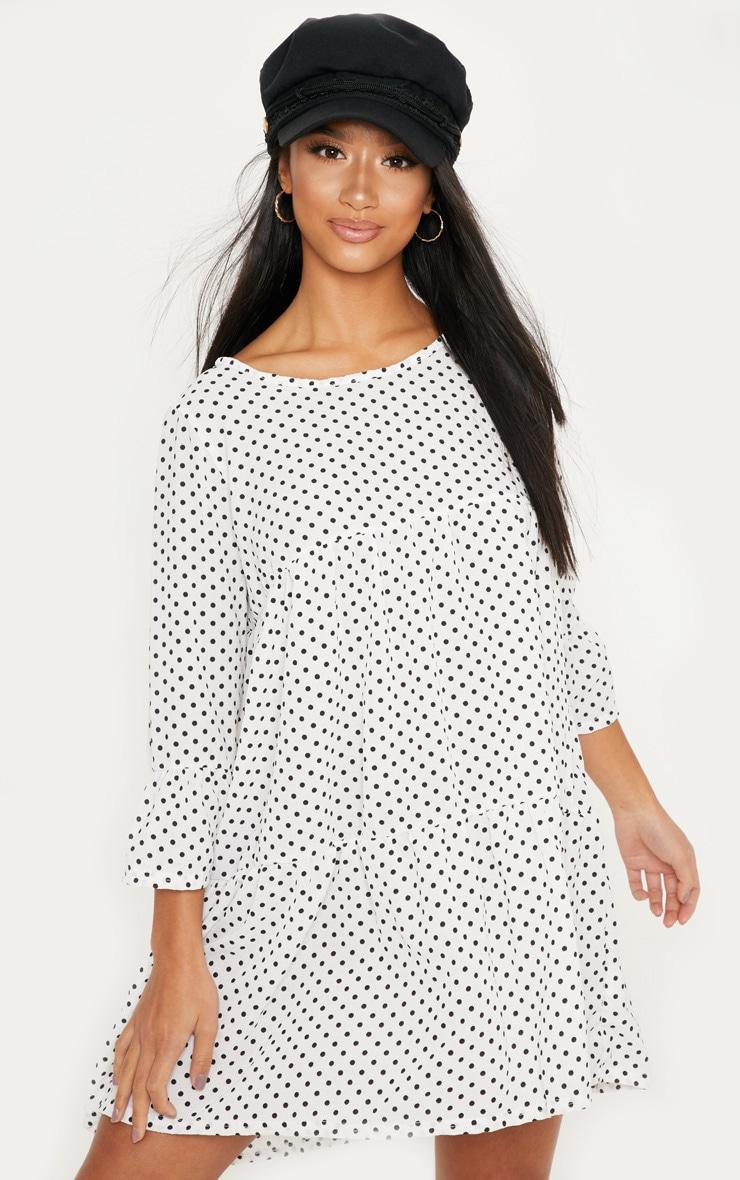 Petite White Polka Dot Tiered Smock Dress 1