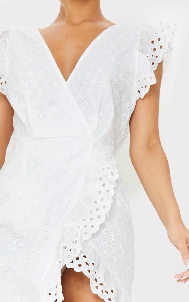 White Broderie Anglaise Tie Back Wrap Midi Dress 4