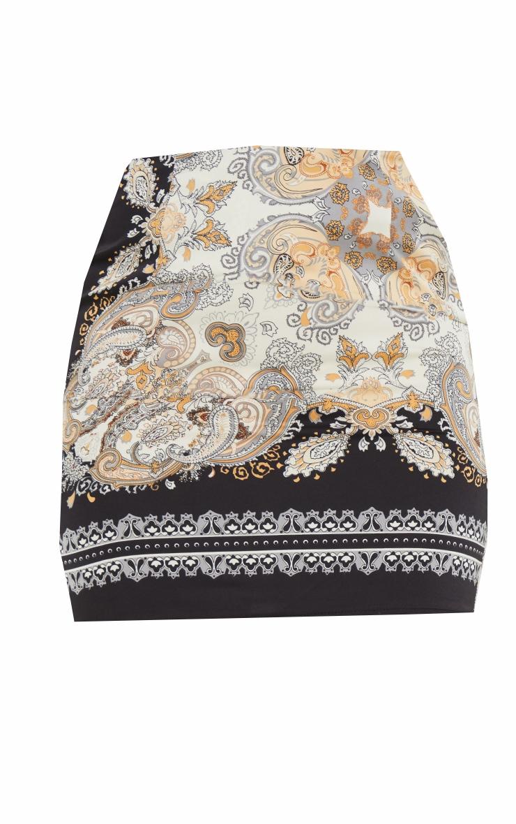 Black Chain Print Woven Mini Skirt 6