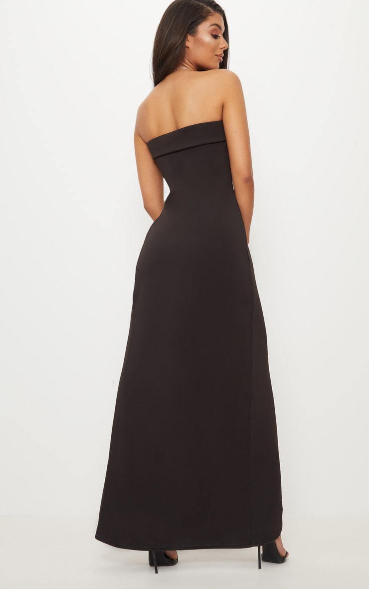 Black Bandeau Wrap Button Detail Tailored Maxi Dress 2