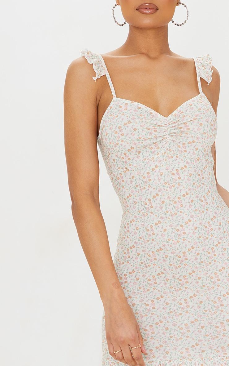 Cream Ditsy Print Frill Bow Tie Detail Bodycon Dress 4