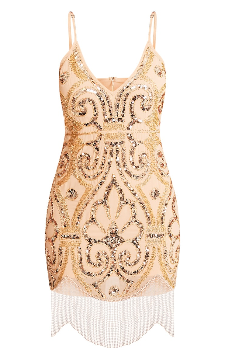 Ashleah Nude Tassel Beaded Bodycon Dress 3