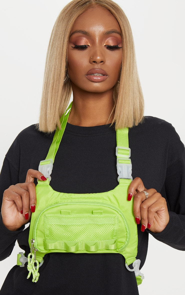 Lime Nylon Mini Utility Front Bag 1