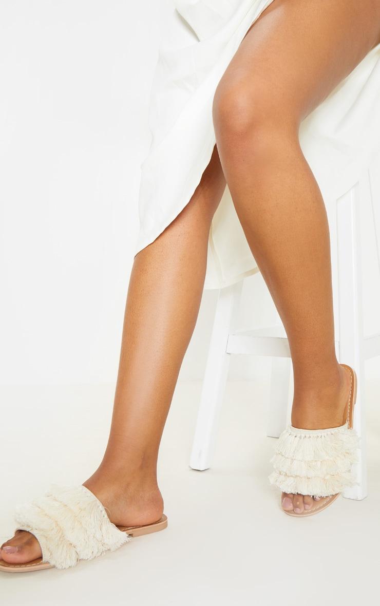Cream Fringe Mule Sandal 3
