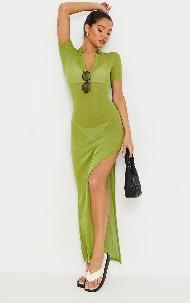 Green Sheer Knit Collar Detail Maxi Dress 1