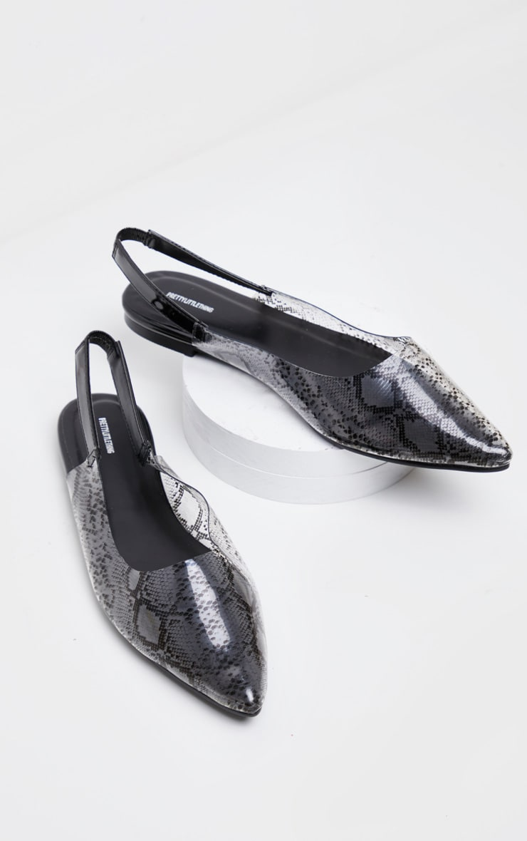 Snake Clear Point Toe Slingback Flat 3