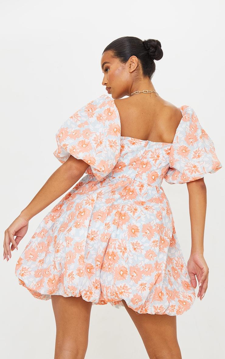 Peach Floral Print Puff Sleeve Puffball Dress 2