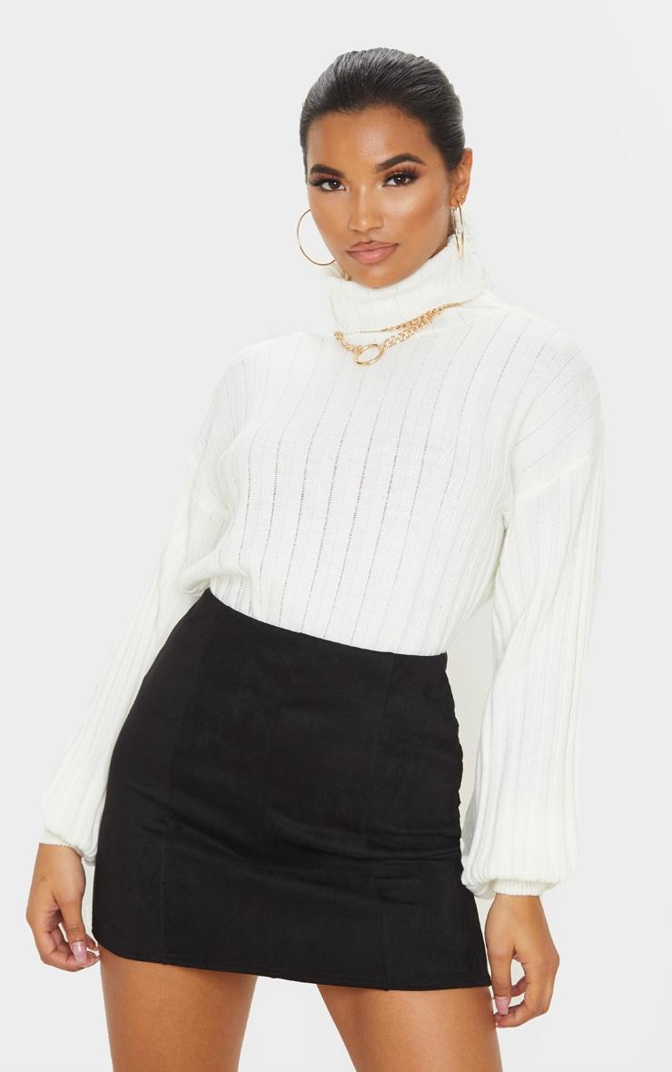 Black Faux Suede Seam Detail Mini Skirt  1