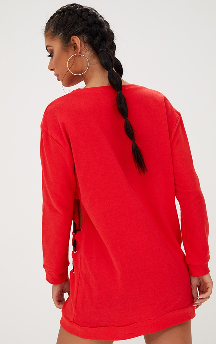 PRETTYLITTLETHING Red Lace Up Sweater Dress 2