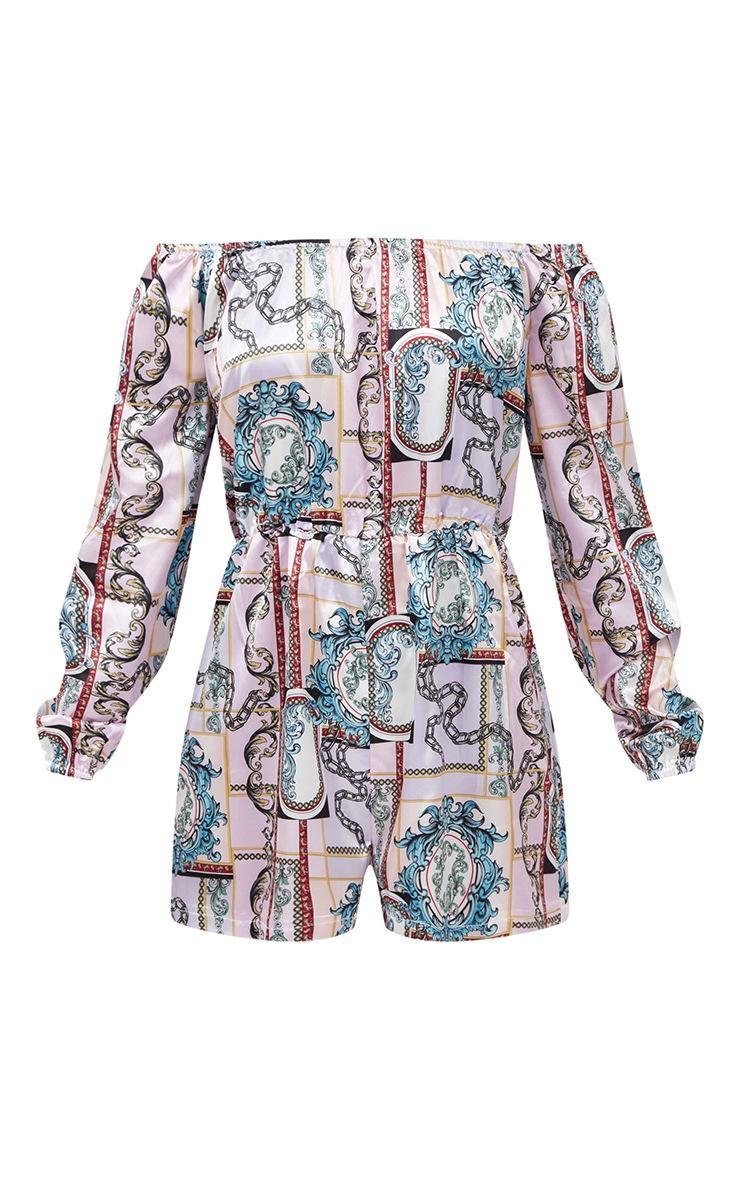 Lilac Scarf Print Long Sleeve Bardot Playsuit 3