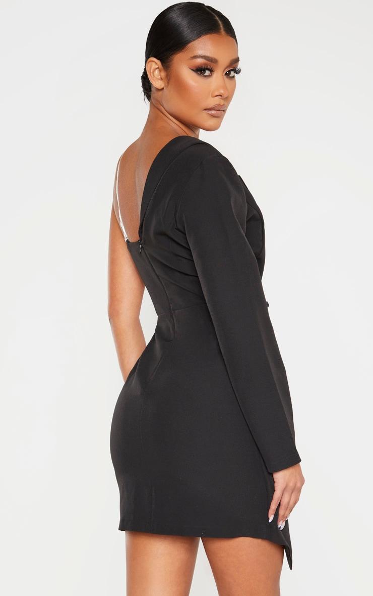 Robe blazer asymétrique noire à épaule unique 2