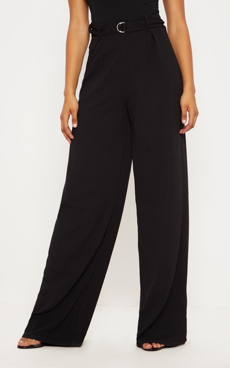Tall Black Ring Detail Pleated Wide Leg Trouser 2